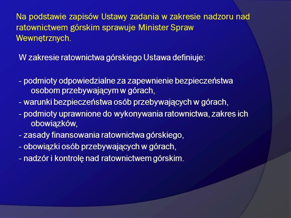 Na podstawie zapisów Ustawy zadania w zakresie nadzoru nad ratownictwem górskim sprawuje Minister Spraw Wewnętrznych. W zakresie ratownictwa górskiego