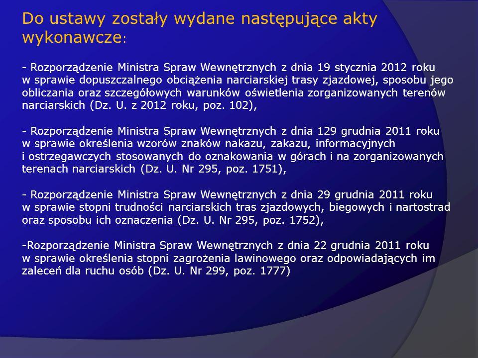 Do ustawy zostały wydane następujące akty wykonawcze : - Rozporządzenie Ministra Spraw Wewnętrznych z dnia 19 stycznia 2012 roku w sprawie dopuszczaln