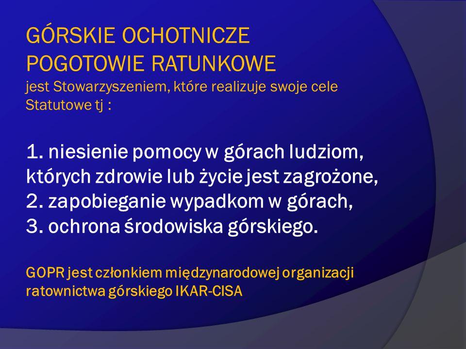 Struktura organizacyjna GOPR Górskie Ochotnicze Pogotowie Ratunkowe składa się z 7 Grup Regionalnych:  Grupy Beskidzkiej  Grupy Bieszczadzkiej  Grupy Jurajskiej  Grupy Karkonoskiej  Grupy Krynickiej  Grupy Podhalańskiej  Grupy Wałbrzysko-Kłodzkiej