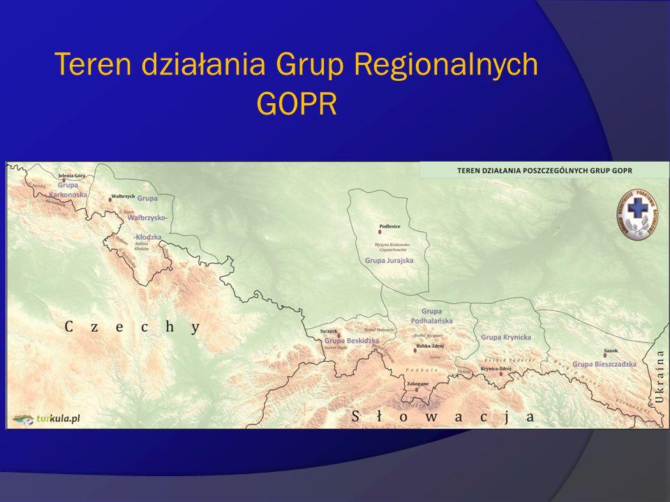 Teren działania Grup Regionalnych GOPR