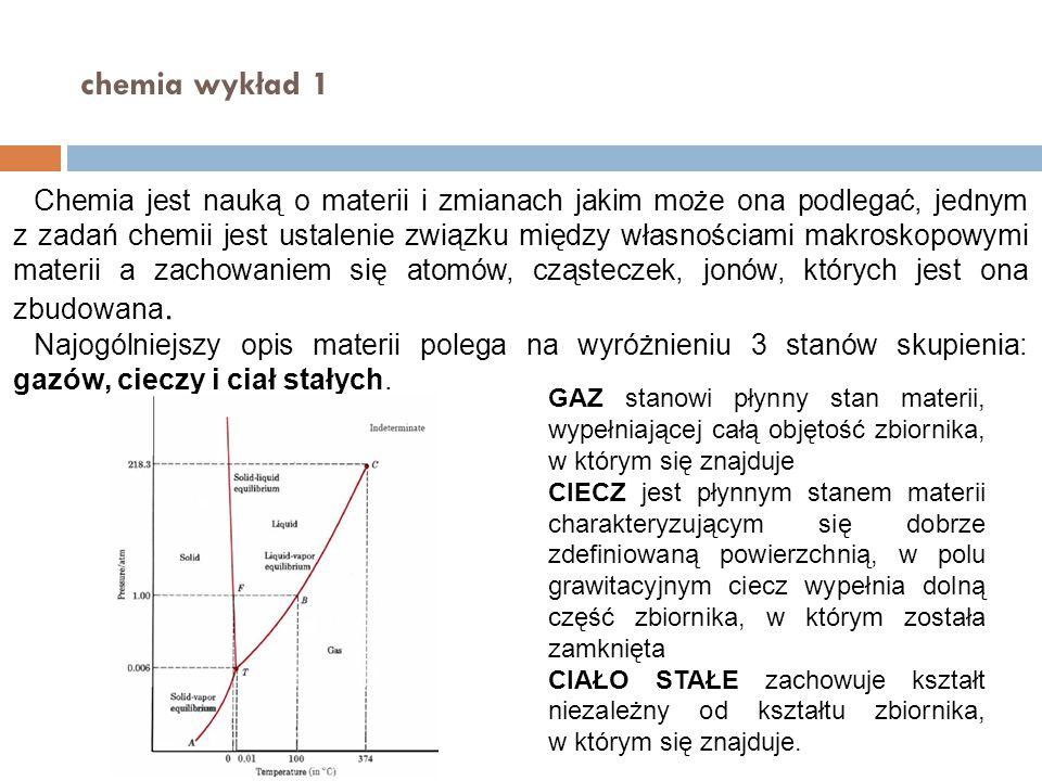 chemia wykład 1 Chemia jest nauką o materii i zmianach jakim może ona podlegać, jednym z zadań chemii jest ustalenie związku między własnościami makro
