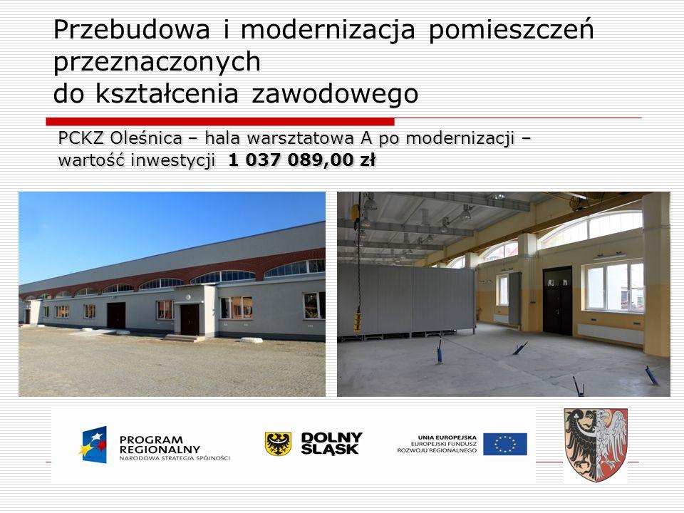 Przebudowa i modernizacja pomieszczeń przeznaczonych do kształcenia zawodowego PCKZ Oleśnica – hala warsztatowa A po modernizacji – wartość inwestycji