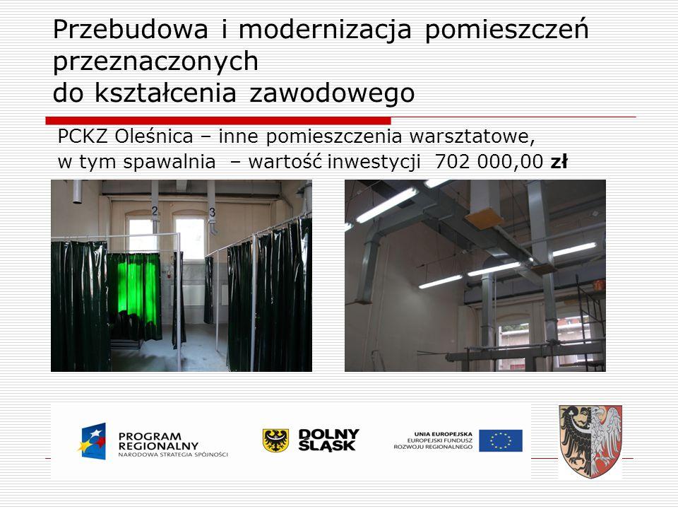 Przebudowa i modernizacja pomieszczeń przeznaczonych do kształcenia zawodowego PCKZ Oleśnica – inne pomieszczenia warsztatowe, w tym spawalnia – warto