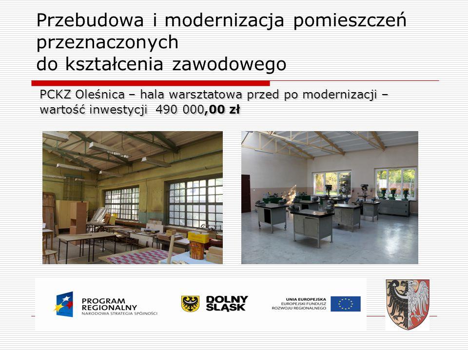 Przebudowa i modernizacja pomieszczeń przeznaczonych do kształcenia zawodowego PCKZ Oleśnica – hala warsztatowa przed po modernizacji – wartość inwest