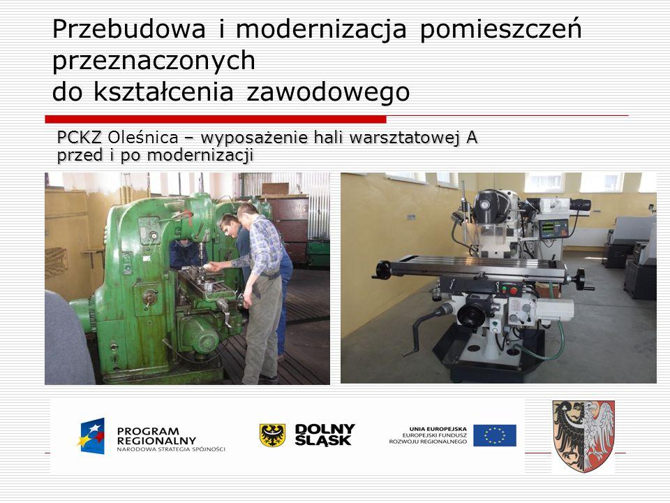 Przebudowa i modernizacja pomieszczeń przeznaczonych do kształcenia zawodowego PCKZ – wyposażenie hali warsztatowej A PCKZ Oleśnica – wyposażenie hali