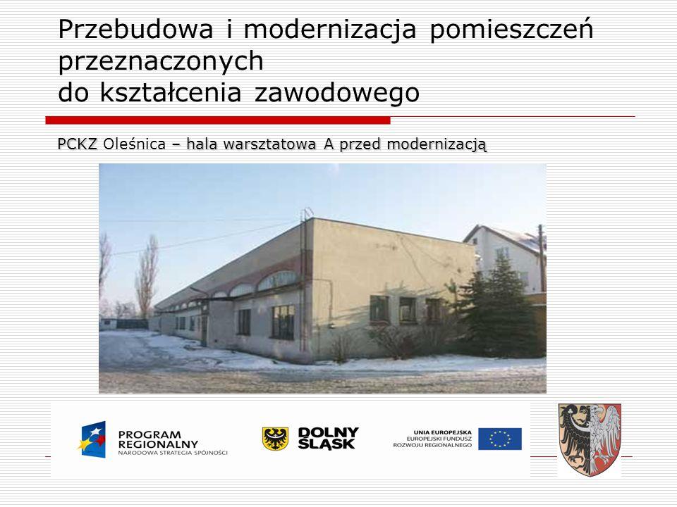 Przebudowa i modernizacja pomieszczeń przeznaczonych do kształcenia zawodowego PCKZ – hala warsztatowa A przed modernizacją PCKZ Oleśnica – hala warsz
