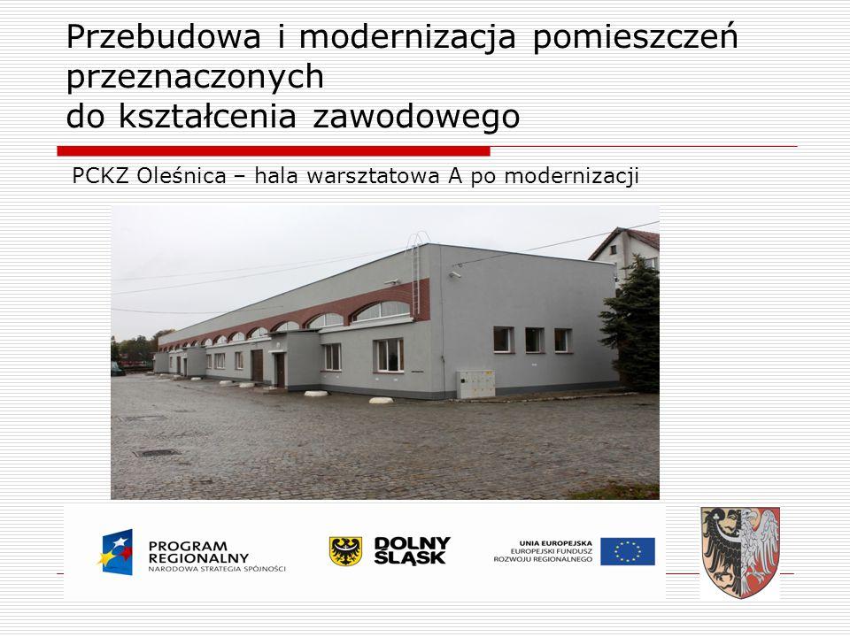 Przebudowa i modernizacja pomieszczeń przeznaczonych do kształcenia zawodowego PCKZ Oleśnica – hala warsztatowa A po modernizacji