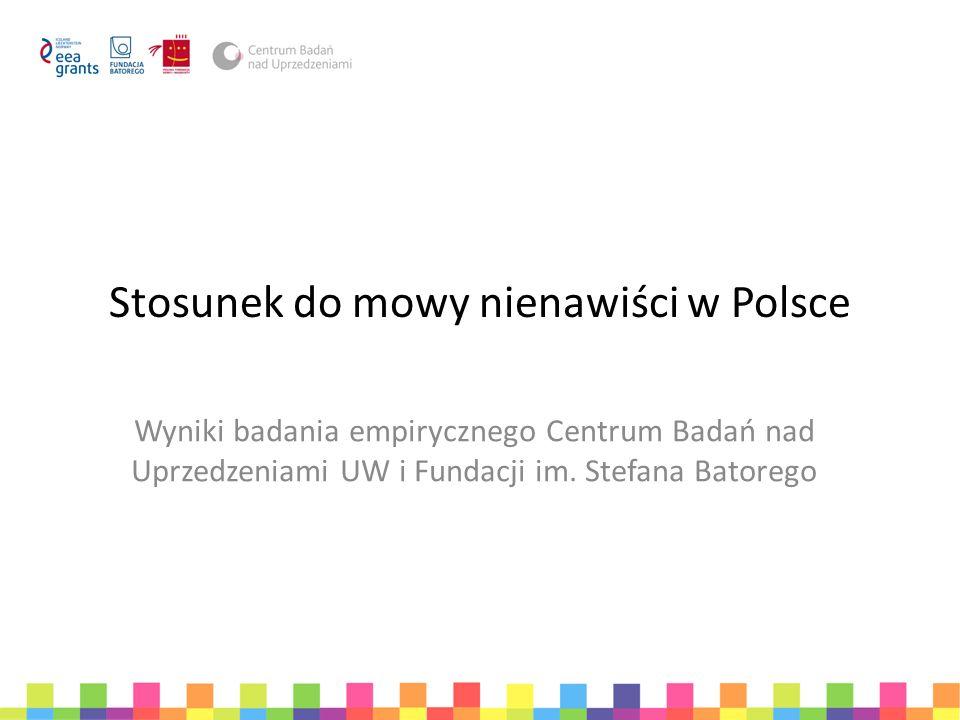 Cele badania Opisanie stosunku dorosłych Polaków i młodzieży do mowy nienawiści Zrozumienie przyczyn pobłażliwego traktowania mowy nienawiści Odpowiedź na pytanie, gdzie Polacy najczęściej stykają się z mową nienawiści Wyjaśnienie wpływu mowy nienawiści na postawy wobec mniejszości