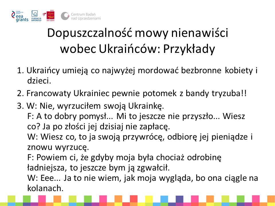 Dopuszczalność mowy nienawiści wobec Ukraińców: Przykłady 1. Ukraińcy umieją co najwyżej mordować bezbronne kobiety i dzieci. 2. Francowaty Ukrainiec