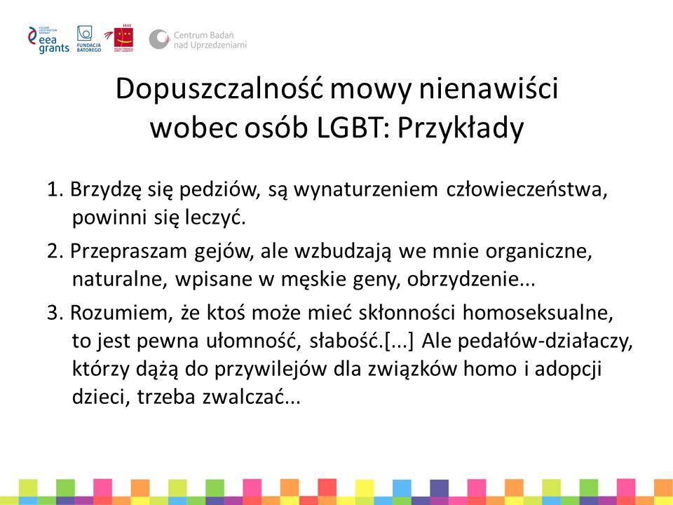 Dopuszczalność mowy nienawiści wobec osób LGBT: Przykłady 1. Brzydzę się pedziów, są wynaturzeniem człowieczeństwa, powinni się leczyć. 2. Przepraszam