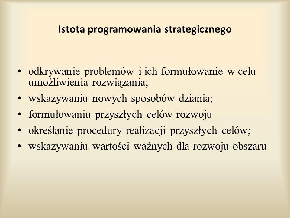 Istota programowania strategicznego odkrywanie problemów i ich formułowanie w celu umożliwienia rozwiązania; wskazywaniu nowych sposobów dziania; formułowaniu przyszłych celów rozwoju określanie procedury realizacji przyszłych celów; wskazywaniu wartości ważnych dla rozwoju obszaru
