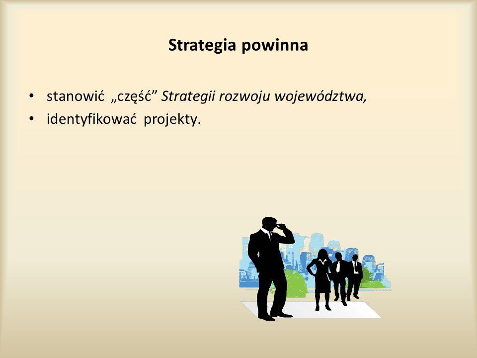 """Strategia powinna stanowić """"część Strategii rozwoju województwa, identyfikować projekty."""