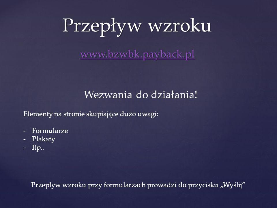 www.bzwbk.payback.pl Przepływ wzroku Wezwania do działania! Elementy na stronie skupiające dużo uwagi: -Formularze -Plakaty -Itp.. Przepływ wzroku prz