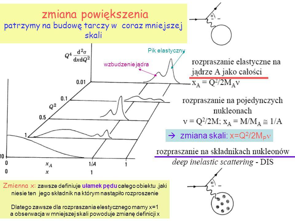zmiana powiększenia patrzymy na budowę tarczy w coraz mniejszej skali Pik elastyczny wzbudzenie jądra Zmienna x: zawsze definiuje ułamek pędu całego obiektu,jaki niesie ten jego składnik na którym nastąpiło rozproszenie Dlatego zawsze dla rozpraszania elestycznego mamy x=1 a obserwacja w mniejszej skali powoduje zmianę definicji x  zmiana skali: x=Q 2 /2M P