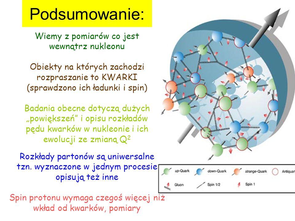 """Podsumowanie: Wiemy z pomiarów co jest wewnątrz nukleonu Obiekty na których zachodzi rozpraszanie to KWARKI (sprawdzono ich ładunki i spin) Badania obecne dotyczą dużych """"powiększeń i opisu rozkładów pędu kwarków w nukleonie i ich ewolucji ze zmianą Q 2 Rozkłady partonów są uniwersalne tzn."""