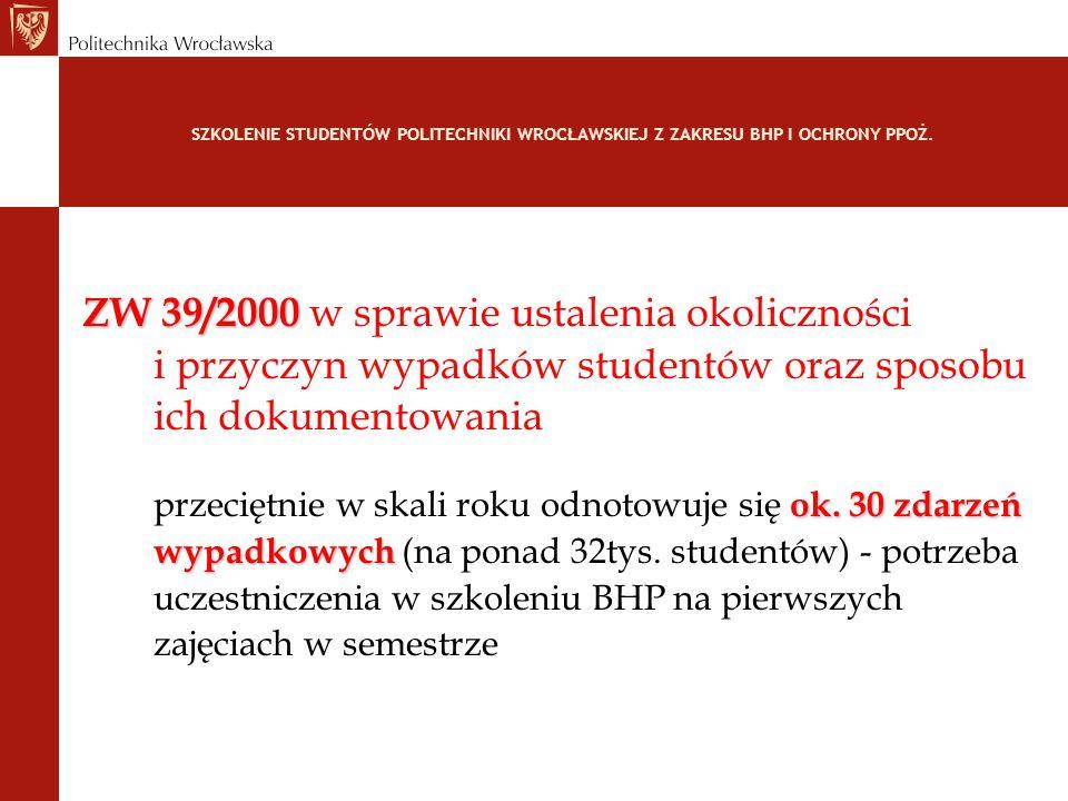 SZKOLENIE STUDENTÓW POLITECHNIKI WROCŁAWSKIEJ Z ZAKRESU BHP I OCHRONY PPOŻ. ZW 39/2000 ZW 39/2000 w sprawie ustalenia okoliczności i przyczyn wypadków