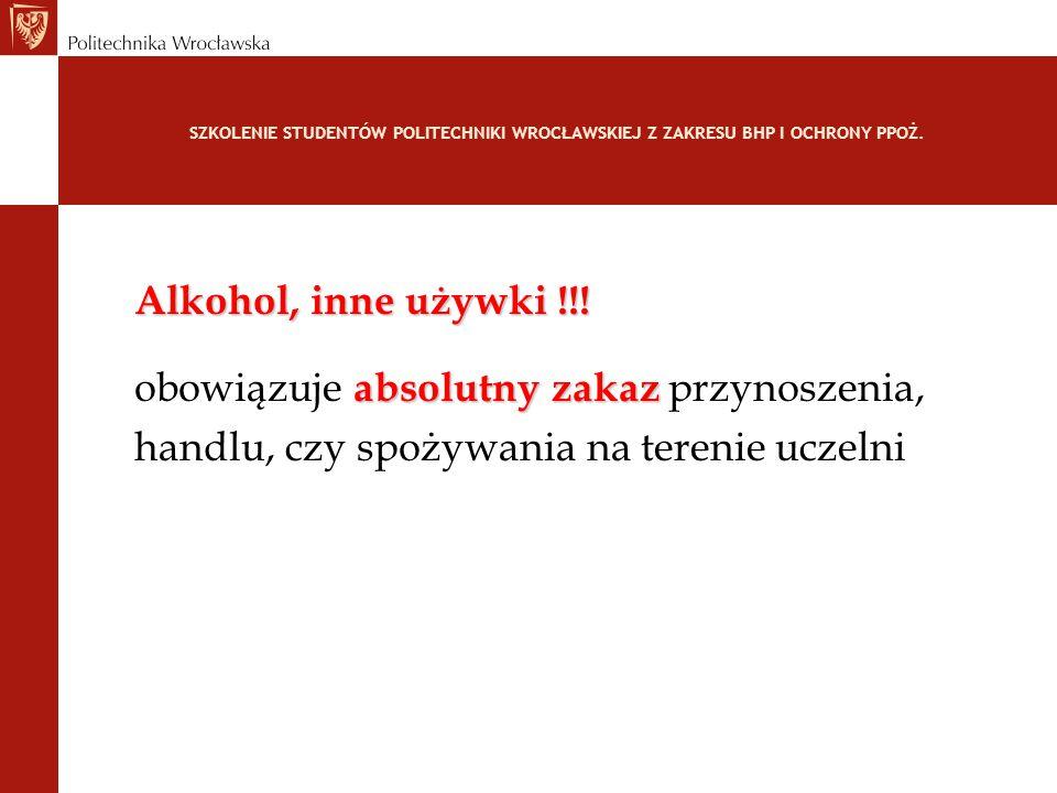 SZKOLENIE STUDENTÓW POLITECHNIKI WROCŁAWSKIEJ Z ZAKRESU BHP I OCHRONY PPOŻ. Alkohol, inne używki !!! absolutny zakaz obowiązuje absolutny zakaz przyno