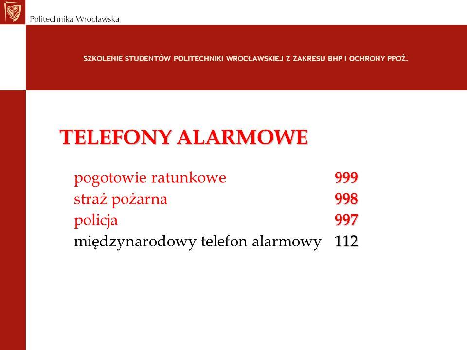 SZKOLENIE STUDENTÓW POLITECHNIKI WROCŁAWSKIEJ Z ZAKRESU BHP I OCHRONY PPOŻ. TELEFONY ALARMOWE 999 pogotowie ratunkowe 999 998 straż pożarna 998 997 po
