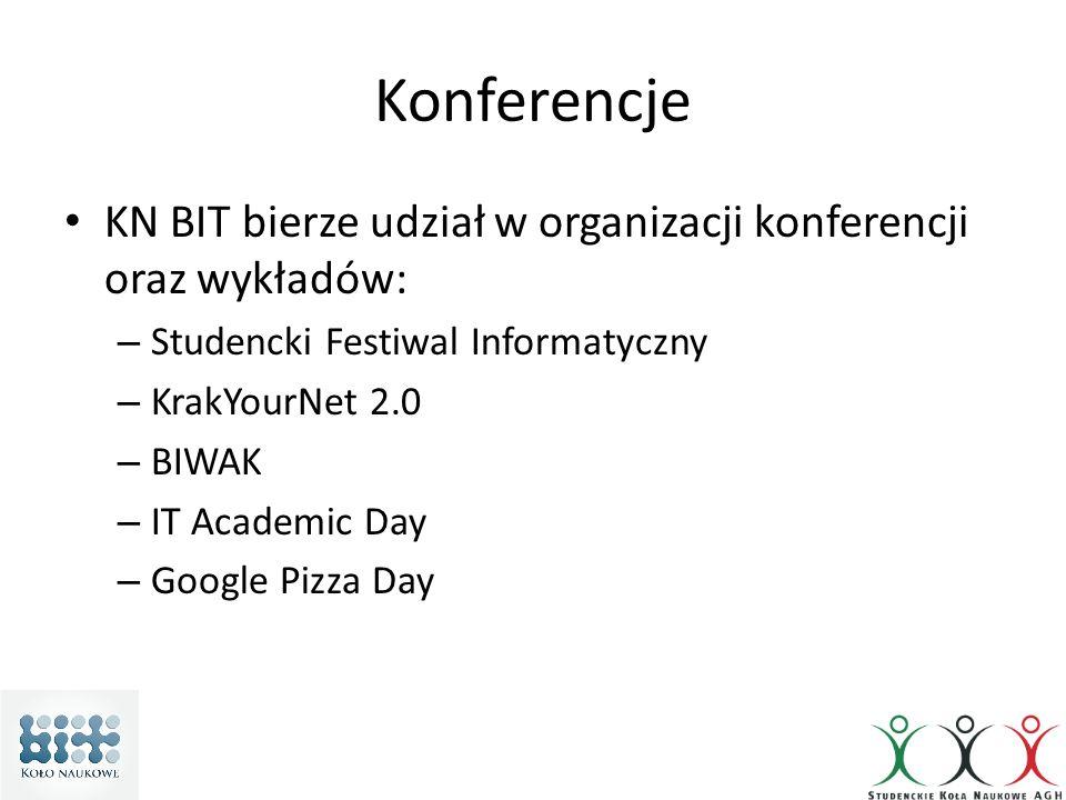 Konferencje KN BIT bierze udział w organizacji konferencji oraz wykładów: – Studencki Festiwal Informatyczny – KrakYourNet 2.0 – BIWAK – IT Academic Day – Google Pizza Day