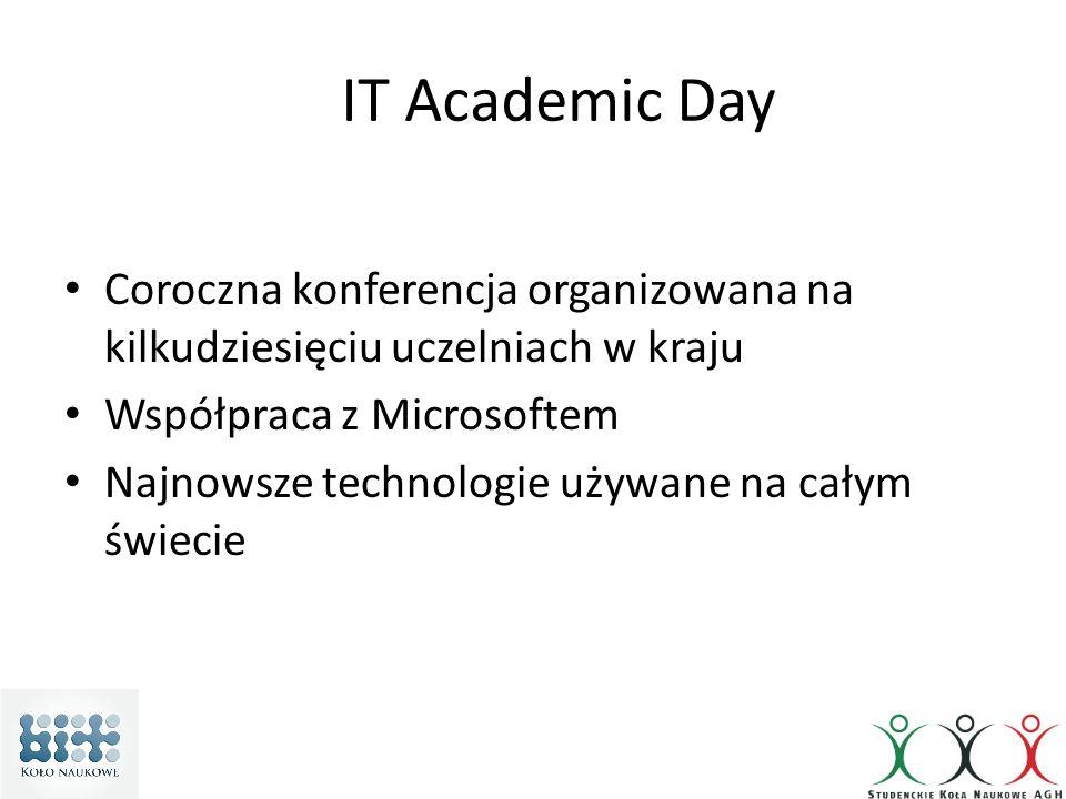 IT Academic Day Coroczna konferencja organizowana na kilkudziesięciu uczelniach w kraju Współpraca z Microsoftem Najnowsze technologie używane na cały