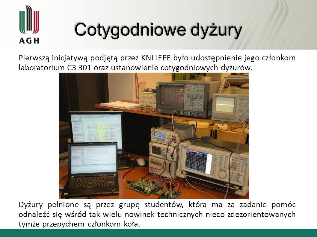 Cotygodniowe dyżury Pierwszą inicjatywą podjętą przez KNI IEEE było udostępnienie jego członkom laboratorium C3 301 oraz ustanowienie cotygodniowych d