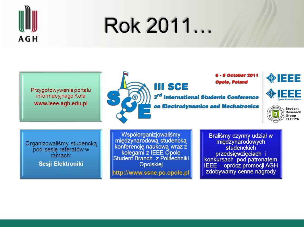 Rok 2011… Przygotowywanie portalu informacyjnego Koła www.ieee.agh.edu.pl Pomagamy w organizacji34 Organizowaliśmy studencką pod-sesję referatów w ram