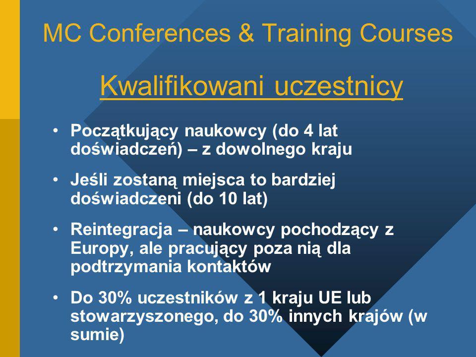 MC Conferences & Training Courses Kwalifikowani uczestnicy Początkujący naukowcy (do 4 lat doświadczeń) – z dowolnego kraju Jeśli zostaną miejsca to bardziej doświadczeni (do 10 lat) Reintegracja – naukowcy pochodzący z Europy, ale pracujący poza nią dla podtrzymania kontaktów Do 30% uczestników z 1 kraju UE lub stowarzyszonego, do 30% innych krajów (w sumie)