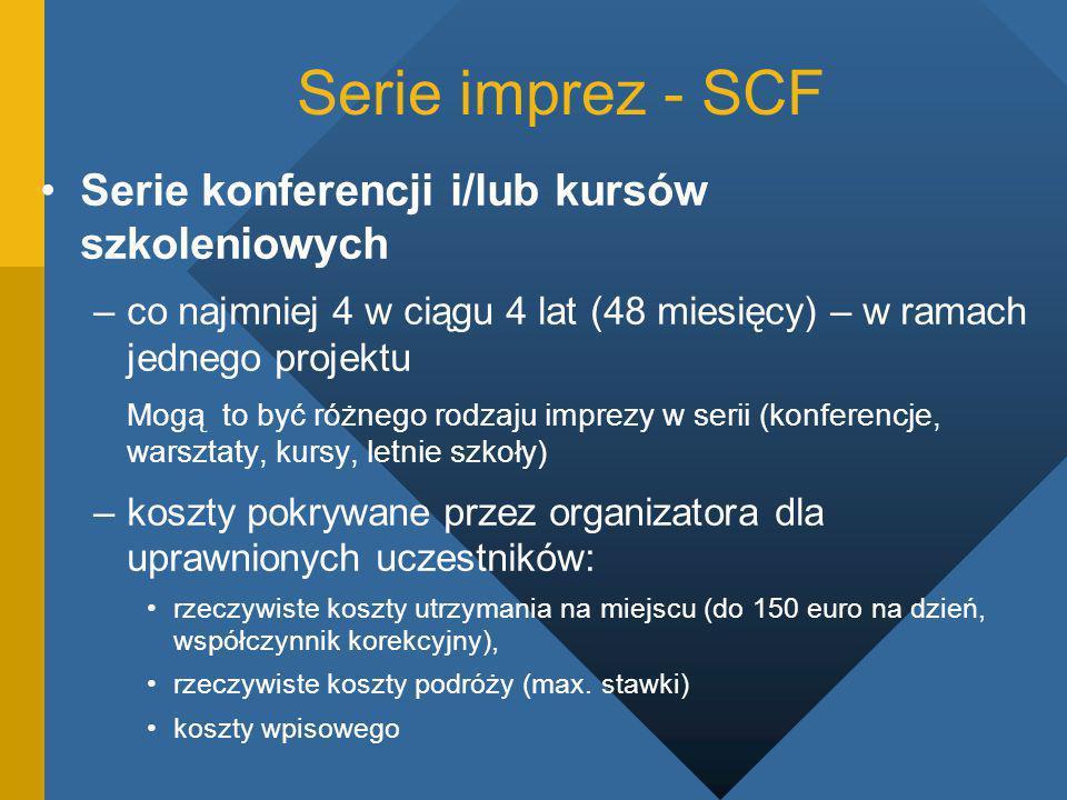 Serie imprez - SCF Serie konferencji i/lub kursów szkoleniowych –co najmniej 4 w ciągu 4 lat (48 miesięcy) – w ramach jednego projektu Mogą to być różnego rodzaju imprezy w serii (konferencje, warsztaty, kursy, letnie szkoły) –koszty pokrywane przez organizatora dla uprawnionych uczestników: rzeczywiste koszty utrzymania na miejscu (do 150 euro na dzień, współczynnik korekcyjny), rzeczywiste koszty podróży (max.