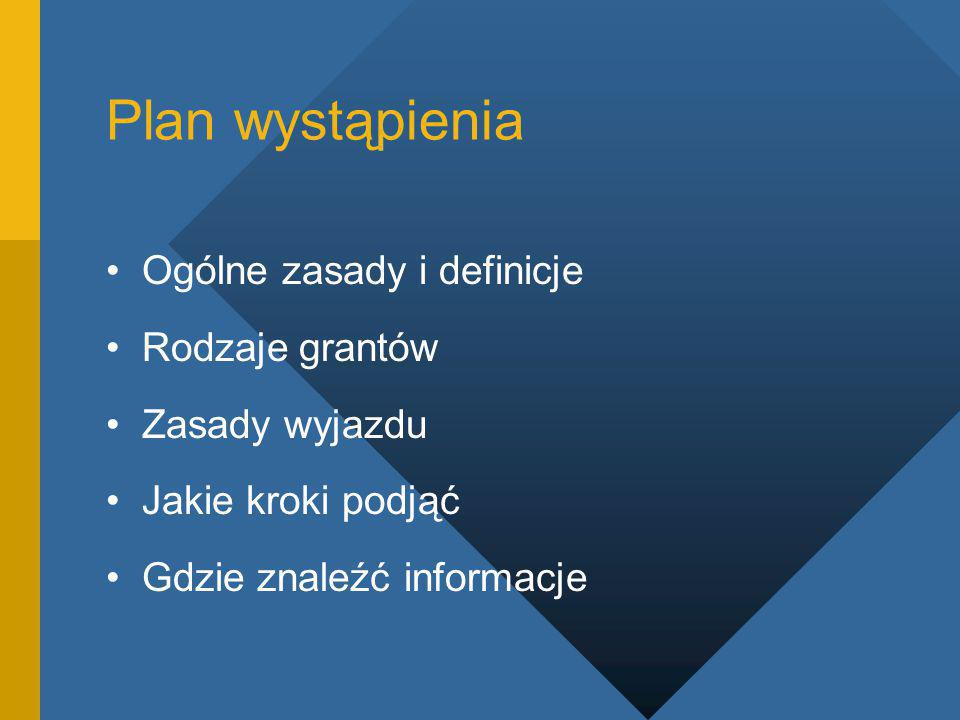 Plan wystąpienia Ogólne zasady i definicje Rodzaje grantów Zasady wyjazdu Jakie kroki podjąć Gdzie znaleźć informacje