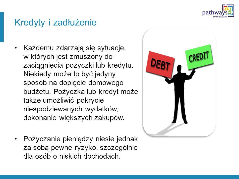 Kredyty i zadłużenie Każdemu zdarzają się sytuacje, w których jest zmuszony do zaciągnięcia pożyczki lub kredytu. Niekiedy może to być jedyny sposób n