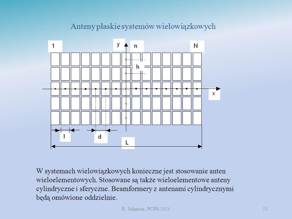 R. Salamon, PCPS-201413 Anteny płaskie systemów wielowiązkowych W systemach wielowiązkowych konieczne jest stosowanie anten wieloelementowych. Stosowa