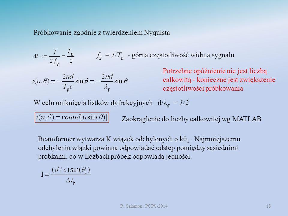R. Salamon, PCPS-201418 Potrzebne opóźnienie nie jest liczbą całkowitą - konieczne jest zwiększenie częstotliwości próbkowania f g = 1/T g - górna czę
