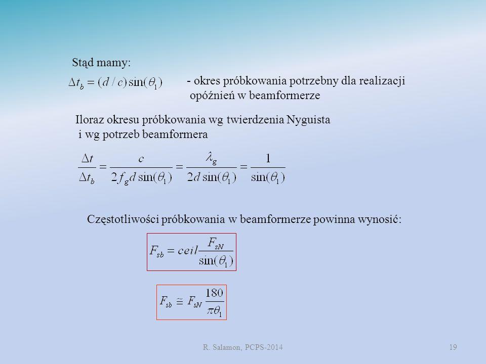 R. Salamon, PCPS-201419 Stąd mamy: Iloraz okresu próbkowania wg twierdzenia Nyguista i wg potrzeb beamformera - okres próbkowania potrzebny dla realiz