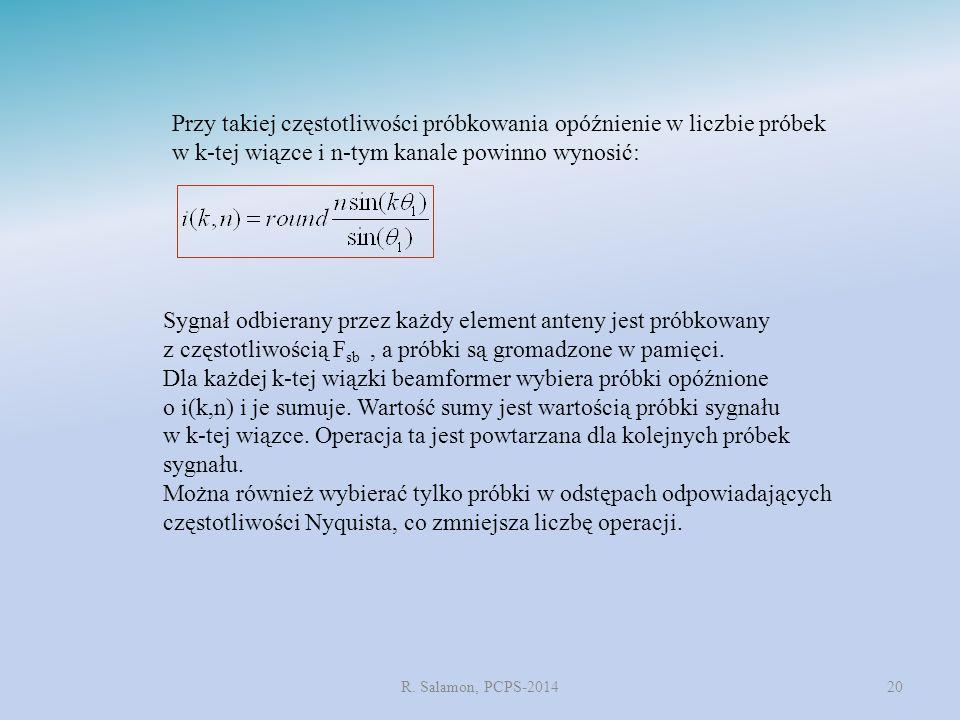 R. Salamon, PCPS-201420 Przy takiej częstotliwości próbkowania opóźnienie w liczbie próbek w k-tej wiązce i n-tym kanale powinno wynosić: Sygnał odbie