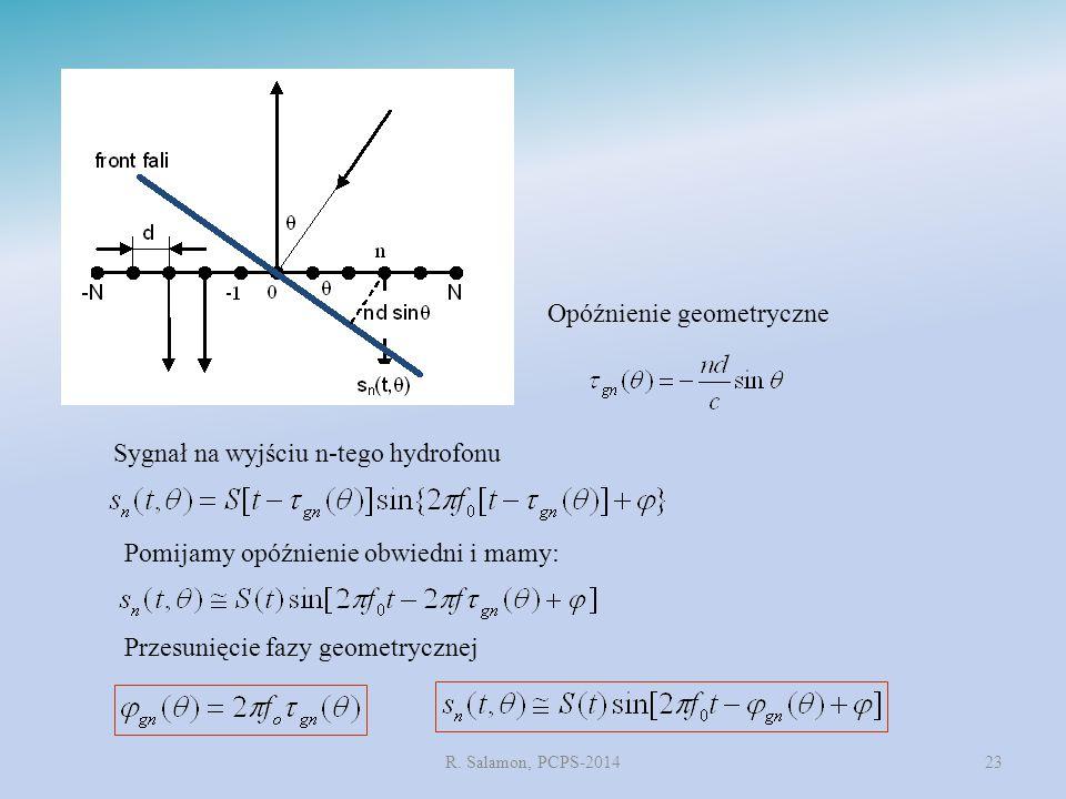 R. Salamon, PCPS-201423 Sygnał na wyjściu n-tego hydrofonu Opóźnienie geometryczne Pomijamy opóźnienie obwiedni i mamy: Przesunięcie fazy geometryczne
