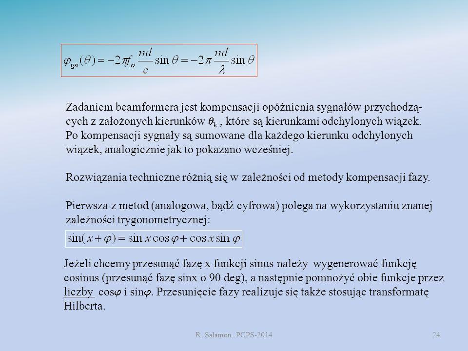 R. Salamon, PCPS-201424 Zadaniem beamformera jest kompensacji opóźnienia sygnałów przychodzą- cych z założonych kierunków  k, które są kierunkami odc