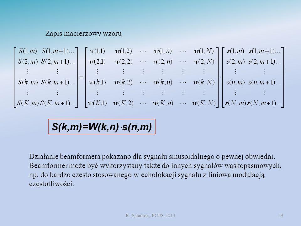 R. Salamon, PCPS-201429 S(k,m)=W(k,n)  s(n,m) Zapis macierzowy wzoru Działanie beamformera pokazano dla sygnału sinusoidalnego o pewnej obwiedni. Bea