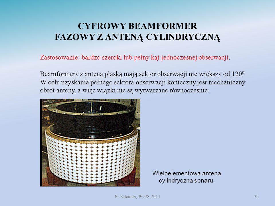 R. Salamon, PCPS-201432 CYFROWY BEAMFORMER FAZOWY Z ANTENĄ CYLINDRYCZNĄ Zastosowanie: bardzo szeroki lub pełny kąt jednoczesnej obserwacji. Beamformer