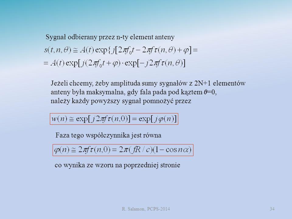 R. Salamon, PCPS-201434 Sygnał odbierany przez n-ty element anteny Jeżeli chcemy, żeby amplituda sumy sygnałów z 2N+1 elementów anteny była maksymalna