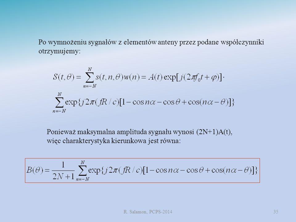 R. Salamon, PCPS-201435 Po wymnożeniu sygnałów z elementów anteny przez podane współczynniki otrzymujemy: Ponieważ maksymalna amplituda sygnału wynosi