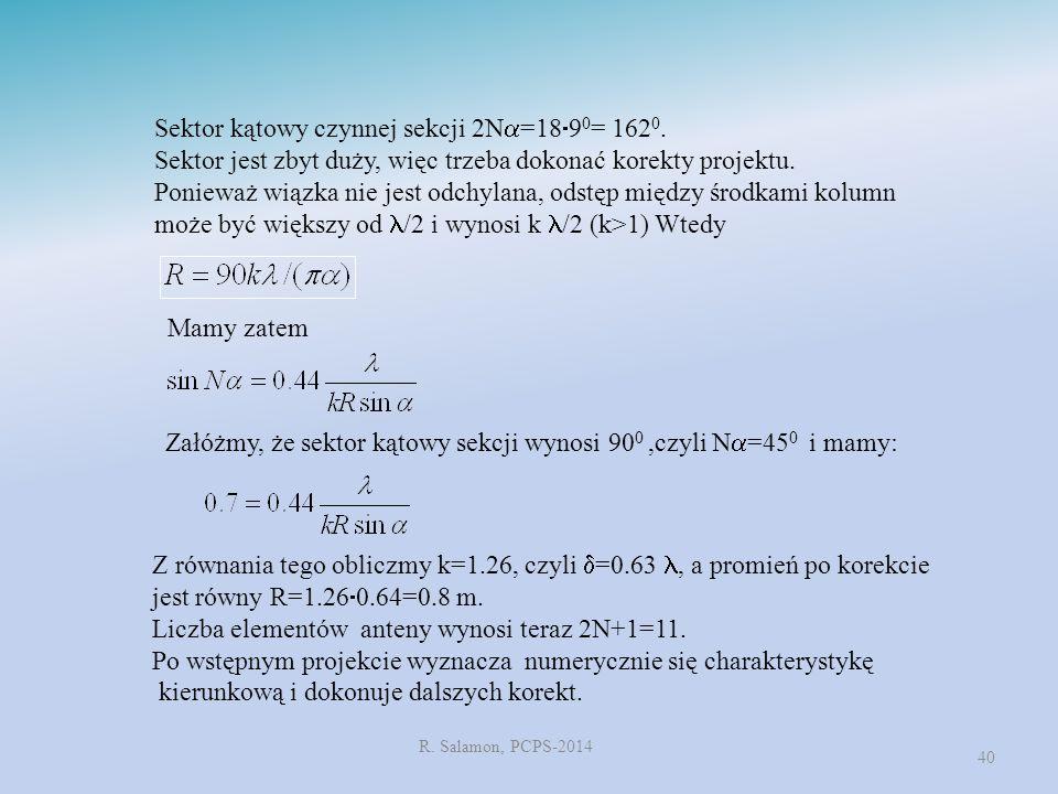 R. Salamon, PCPS-2014 40 Sektor kątowy czynnej sekcji 2N  =18  9 0 = 162 0. Sektor jest zbyt duży, więc trzeba dokonać korekty projektu. Ponieważ wi