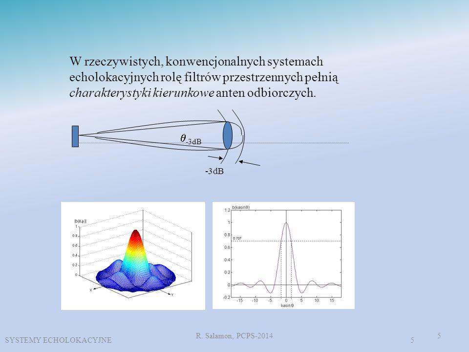 R. Salamon, PCPS-20145 W rzeczywistych, konwencjonalnych systemach echolokacyjnych rolę filtrów przestrzennych pełnią charakterystyki kierunkowe anten