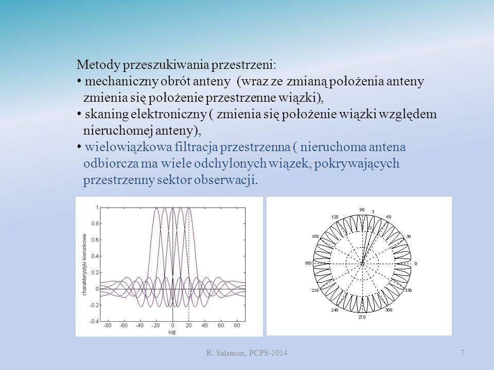 R. Salamon, PCPS-20147 Metody przeszukiwania przestrzeni: mechaniczny obrót anteny (wraz ze zmianą położenia anteny zmienia się położenie przestrzenne