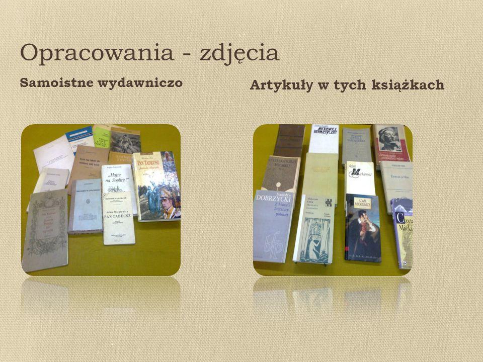 Opracowania - zdjęcia Samoistne wydawniczo Artykuł y w tych książkach