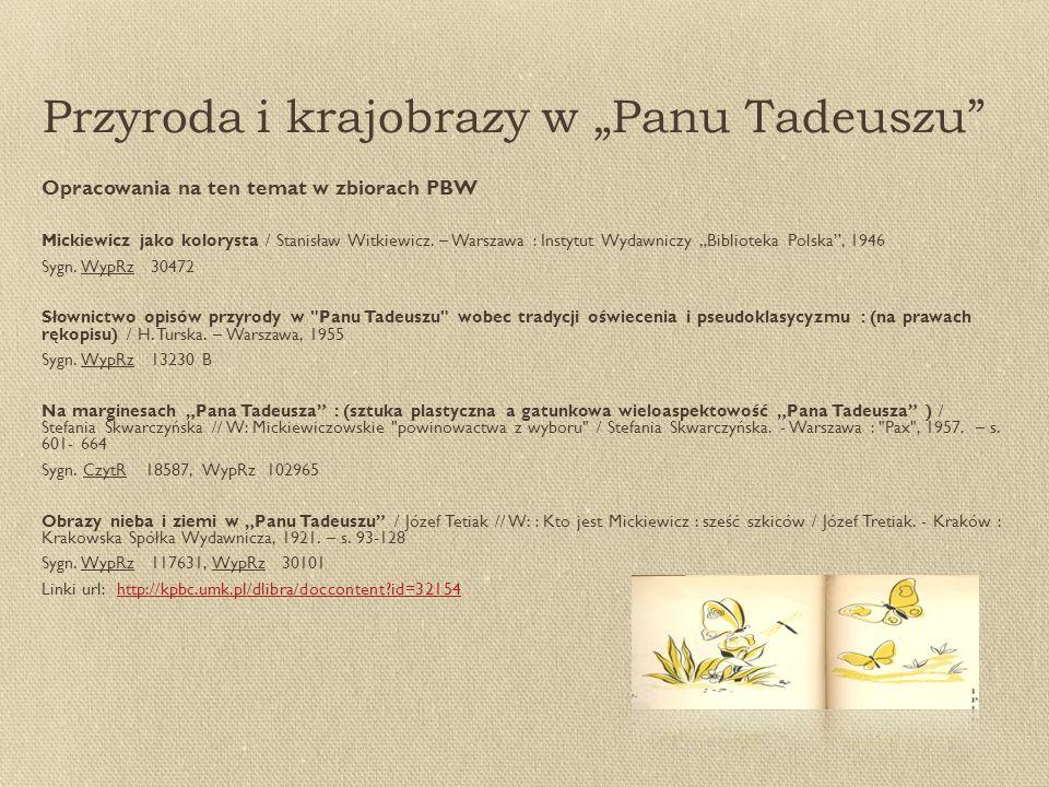 """Przyroda i krajobrazy w """"Panu Tadeuszu Opracowania na ten temat w zbiorach PBW Mickiewicz jako kolorysta / Stanisław Witkiewicz."""