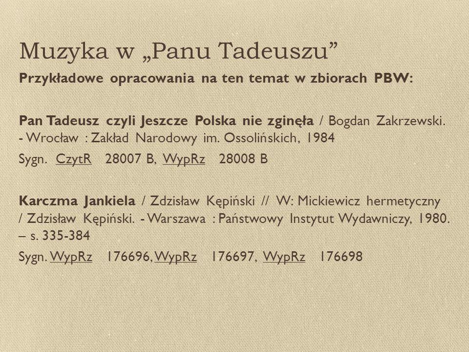 """Muzyka w """"Panu Tadeuszu Przykładowe opracowania na ten temat w zbiorach PBW: Pan Tadeusz czyli Jeszcze Polska nie zginęła / Bogdan Zakrzewski."""