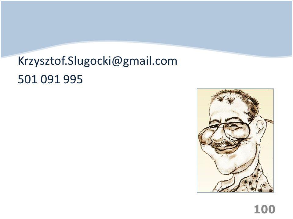Krzysztof.Slugocki@gmail.com 501 091 995 100