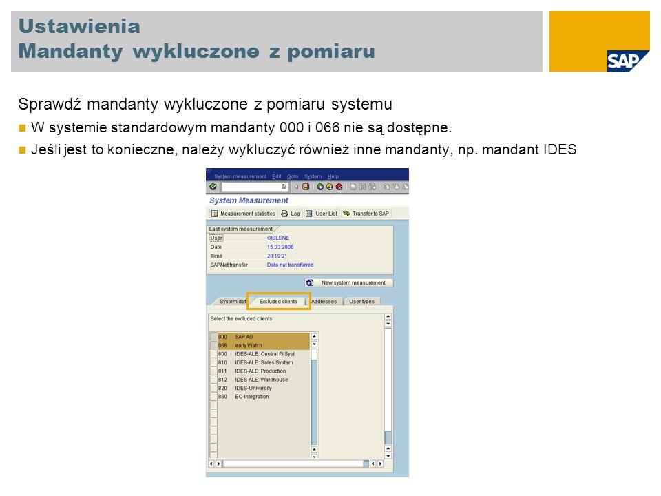 Ustawienia Dane kontaktowe Wprowadź Nazwisko i adres nadawcy Odbiorca pomiaru (SAP) Numer faksu