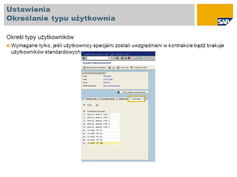 Przeprowadzenie klasyfikacji użytkownika za pomocą listy użytkownika Otwórz listę użytkowników (User list) Wprowadź numer mandantu, w którym obecnie jesteś zalogowany Użytkownicy mogą być tylko sklasyfikowani w bieżącym mandancie Wykonaj (Execute)