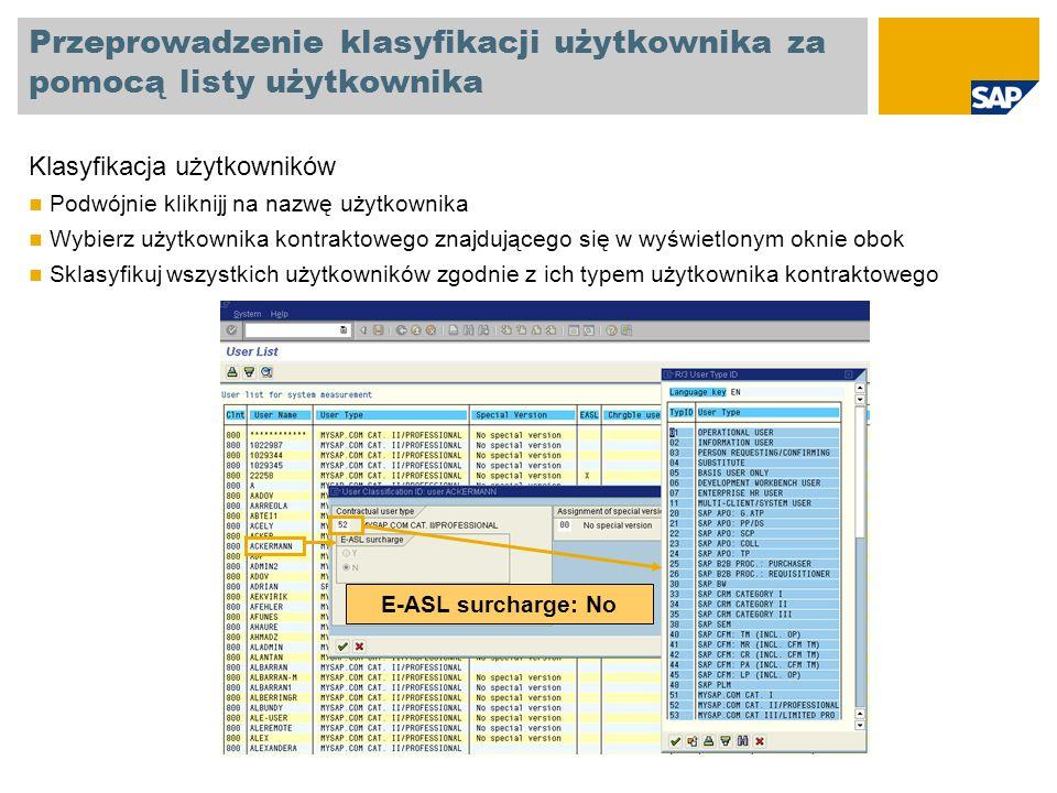 Klasyfikacja użytkowników testowych Wszyscy techniczni użytkownicy mogą być sklasyfikowani jako użytkownicy testowi, ID 91 Użytkownikami technicznymi są: Użytkownicy systemowi (System users) Użytkownicy serwisowi (Service users) Użytkownicy referencyjni (Reference users) Użytkownicy komunikacyjni (Communication users) Użytkownicy SAP np.